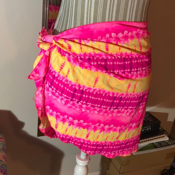 d91864df88 Swim | Pink And Yellow Floral Sarong Suit Coverup | Poshmark